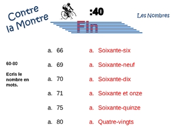 French Numbers 1-100 Writing Activity, Powerpoint