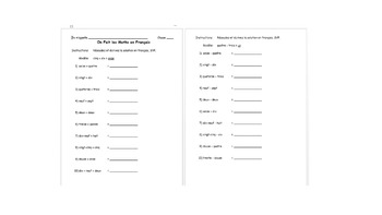French Numbers 1-1000- Classwork and Participation