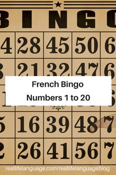 French Numbers 1-20 Bingo