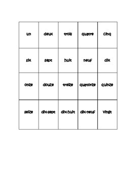 French Numbers 1-20 Matching Game