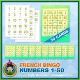 French Numbers 1 to 50 Bingo Game • 30 Cards • Abstract Theme