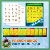 French Numbers 1 to 50 Bingo Game • 30 Cards • Circus Theme