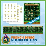 French Numbers 1 to 50 Bingo Game • 30 Cards • Jungle Theme