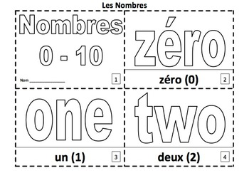 French Numbers 2 Coloring Booklets With Numbers 0-10
