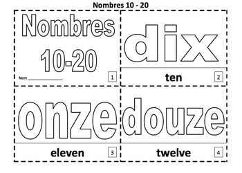 French Numbers 2 Coloring Booklets With Numbers 10 - 20