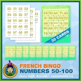 French Numbers 50 to 100 Bingo Game • 30 Cards • Abstract Theme