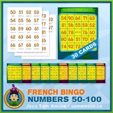 French Numbers 50 to 100 Bingo Game • 30 Cards • Circus Theme