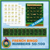 French Numbers 50 to 100 Bingo Game • 30 Cards • Jungle Theme