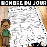 French Number of the Day Activities - Nombre du jour - les nombres 1-20