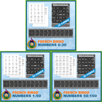 French Numbers 0 to 100 Bingo Bundle • 3 types included • Jungle Theme