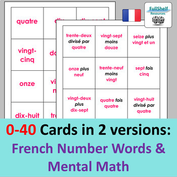 French Numbers Games (Bingo)