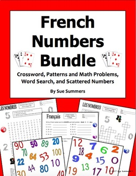 French Numbers Bundle - Crossword, Word Search, Scattered Numbers, Math
