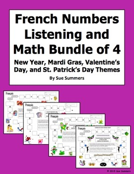 French Numbers Bundle of 4: New Year, Mardi Gras, Valentine's, St. Patrick's Day