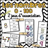 French Numbers Clip Cards - Nombres 0 - 100 - 2 jeux d'association/Ensemble