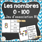 French Numbers Clip Cards - Nombres - 0-100 - jeu d'association #1