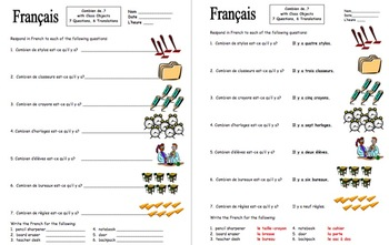 French Numbers Combien de with Classroom Objects Worksheet
