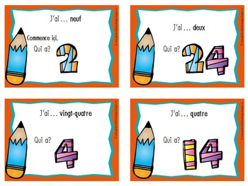 "French Numbers - ""I Have, Who Has?"" Game - for Numbers 1 to 24"
