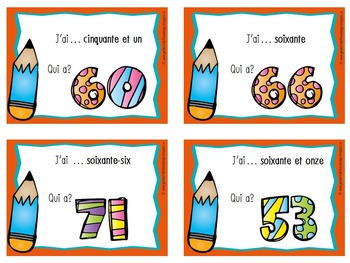 """French Numbers - I Have, Who Has?"""" Game for Numbers 50 - 74"""""""