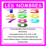 French Numbers (Les nombres) - Numbers Chart + Worksheet + 2 Quizzes