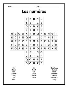 French Numbers Word Search Puzzle - Mots cachés français sur les numéros