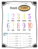 French Numbers Worksheet Packet