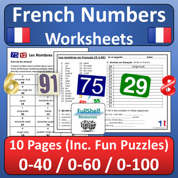 French Numbers 1 100 Worksheets By Fullshelf Resources Tpt