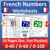 French Numbers 1-100 Worksheets