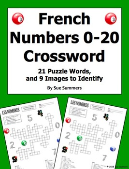 French Numbers Zero to Twenty Crossword Puzzle and Image IDs Worksheet