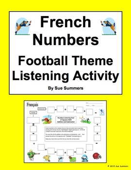 French Numbers and Math Listening Activity Football Theme