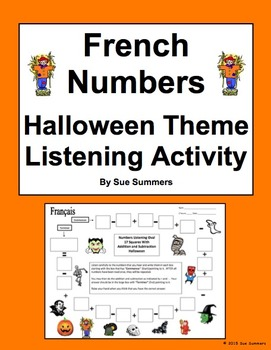 French Halloween Numbers and Math Listening Activity