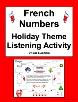 French Numbers and Math Listening Activity Holiday Theme