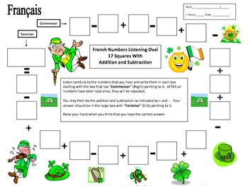 French St. Patrick's Day Numbers and Math Listening Activity - La Saint-Patrick