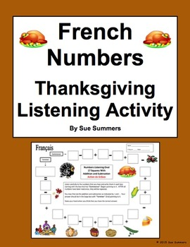 French Numbers and Math Listening Activity Thanksgiving Theme