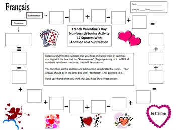 French Valentine's Day Numbers and Math Listening Activity