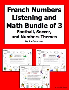 French Numbers and Math Listening Bundle: Football, Soccer, Numbers