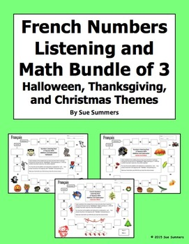 French Numbers and Math Listening Bundle: Halloween, Thanksgiving, and Christmas