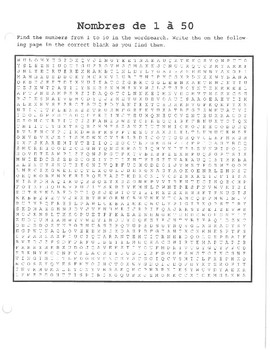 French Numbers to 50 Wordsearch