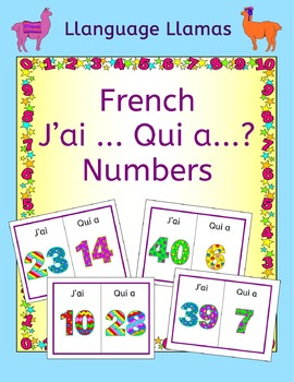 French Numbers up to 50 Les Chiffres J'ai ... Qui a ... Game - Free