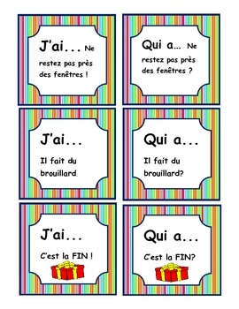 French ORAL Weather Game- J'ai...Qui a--Fun For the WHOLE Class!