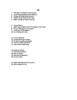 French Object Pronouns Quiz/Worksheet (me, te, nous, vous, le, la, les)