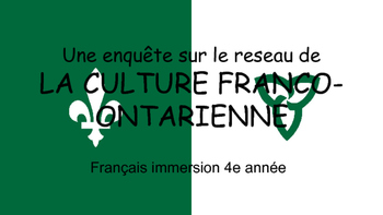 French Ontario Culture - Webquest (in French)