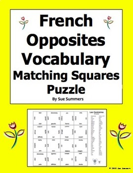 French Opposites 4 x 4 Matching Squares Puzzle