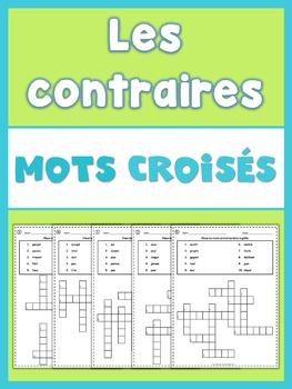 French Opposites  Crossword Puzzles
