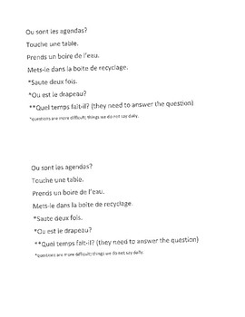 French Oral Comprehension Activity
