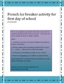 French Oral and written Ice Breaker for back to school Trouve quel qu'un qui...
