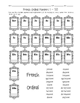 French Ordinal Numbers 1-20 Worksheet by Sunny Side Up Resources