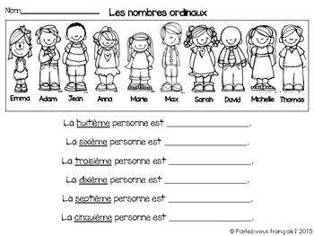 French Ordinal Numbers- Les nombres ordinaux