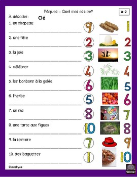 French – Pâques – Easter – word scramble