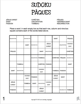 French Pâques religious theme sudoku games - French Easter