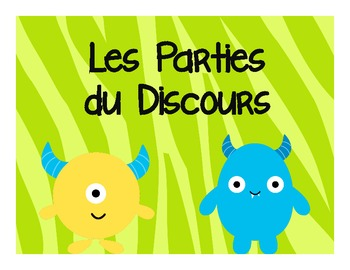 French Parties du Discours Posters & Activities: Monster Theme